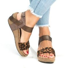 Shoes - New Fashion Ladies Comfortable Peep Toe Wedges Platform Sandals Open Toe Sandals, Wedge Sandals, Leather Sandals, Summer Sandals, Summer Shoes, Wedge Sneakers, Snow Sneakers, Espadrille Sandals, Strap Sandals