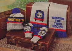 vintage THOMAS the TANK Engine Hat, Scarf & Mittens knitting pattern (90s) (PDF) $3.73