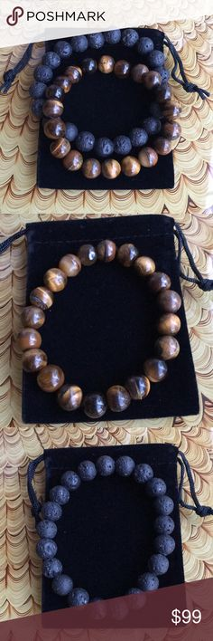 Two Stretch Bracelet - Tigereye and Black Lava. Two men's stretch bracelets. Semi precious tigereye 10mm. Black lava 10mm stone beads. Measures approximately 7 inches around. Fits a 7 inch wrist medium snug (a little movement). Comes with a storage pouch and box.  Handcrafted by me 💕🌸 Jewelry Bracelets