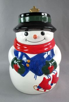 Snowman with Ice Skates Cookie Jar Hand Painted Ceramic Winter Holidays Allure #Allure