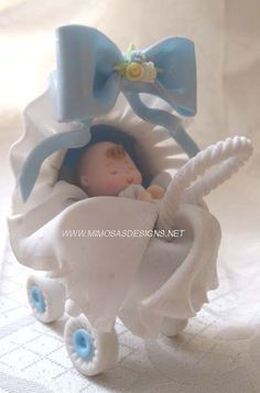 *COLD PORCELAIN ~ Baby Carriage Cake Topper - Cold porcelain