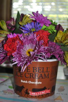 """I scream...You scream...We all scream for Ice Cream"" birthday party flower arrangement."
