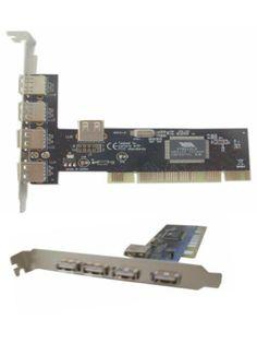 PCI Card USB 2.0 4+1port   PCI card untuk mainboard komputer anda yang kekurangan port usb.  Terdiri dari 4 port USB 2.0 di luar CPU dan 1 port USB 2.0 di dalam CPU.  Pemasangan dan instalasi nya sangat mudah.  PCI USB 2.0 Multimedia 4-port PCI USB Adapter - 4 x USB 2.0 USB External, 1 x USB 2.0 USB Internal  Features:  - Host Interface: PCI - Total Number of USB Ports: 4 + 1  Harga rp65.000 Info detail di : www.tokomipo.com