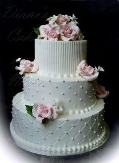 Italian Cream Wedding Cake by Diane's Cakes and More