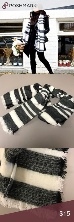 SALE! << Black and White Plaid Blanket Scarf >> Wear so many ways and with so many outfits! These colors match everything! Look stylish and stay warm! So many ways to wear it! 100% Acrylic. First picture is styled picture, other pictures depict true scarf Boutique Accessories Scarves & Wraps