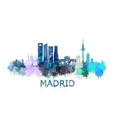 Madrid City, Foto Madrid, Spanish Posters, Watercolor City, Madrid Travel, Water Poster, Skyline Art, Spain Travel, Disney Art