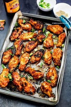 Oven baked Korean style chicken wings. It will make a perfect appetiser for your next gathering! It's marinated with addictive spicy Korean chili sauce!   MyKoreanKitchen.com