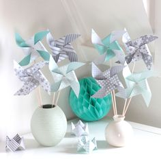 New Baby Shower Decorations Ideas Babyshower Center Pieces Ideas Deco Baby Shower, Baby Shower Parties, Baby Boy Shower, Baby Decor, Baby Shower Decorations, Pinwheel Centerpiece, Diy And Crafts, Crafts For Kids, Origami Paper Art