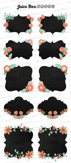 Set of 10 Floral Chalkboard Stickers
