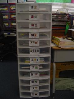 Author studies: a drawer for each author.