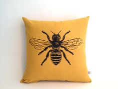 Bee Decorative Pillow - 14x14 Throw Pillow. $25.00, via Etsy.