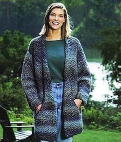 This Flattering Long Jacket Crochet Pattern is a free download. Perfect for Fall outdoors or to snuggle in on the sofa.