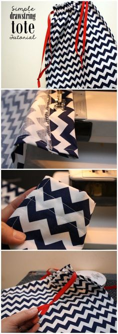 DIY Sewing Gift Ideas for Adults and Kids, Teens, Women, Men and Baby - Simple Drawstring Tote - Cute and Easy DIY Sewing Projects Make Awesome Presents for Mom, Dad, Husband, Boyfriend, Children http://diyjoy.com/diy-sewing-gift-ideas