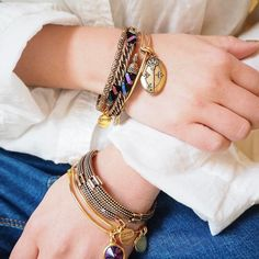 #repost from @alexandanijp - online exclusive wraps and bangles. #ALEXANDANI #withlove #bangles #charmedarms
