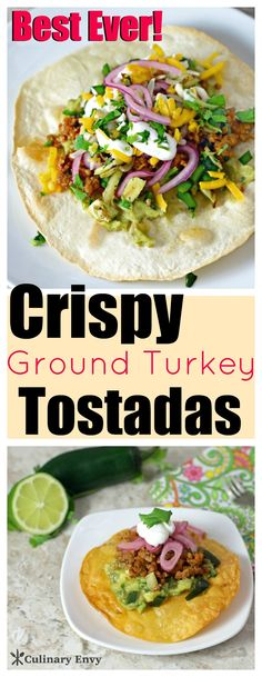 These simple, healthy, delicious Crispy Ground Turkey Tostadas are made with lots of Mexican taco spices, sassy poblano and tasty lime marinated red onions.  It's the freshest tasting Tex Mex ever!  Click to read more!