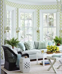 Pretty Ashley Whittaker sun room...beautiful treillage...light and airy.