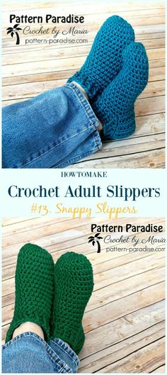 Snappy Slippers Crochet Free Pattern - #Crochet; Adult #Slippers; Free Patterns