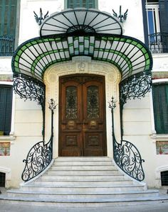 Art Nouveau entrance. Naples, Italy