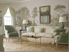 Perfect grisaille wallpaper in a perfect cream and mint room!!!!!