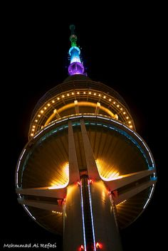 Kuwait Tower on Kuwait National Day Celebration. Amazing
