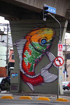 Binho Ribeiro - cool koy fish and wonderful graffiti art Awesome Banksy Graffiti Drawings street art Athens graffiti Murals Street Art, 3d Street Art, Amazing Street Art, Street Art Graffiti, Street Artists, Amazing Art, Awesome, Graffiti Artwork, Art Mural