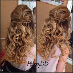 Curls - halfuphalfdown #hairbydd Formal Hairstyles, Cute Hairstyles, Military Ball, About Hair, Homecoming, Curls, Braids, Long Hair Styles, Wedding Ideas