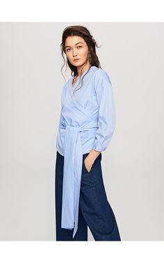 Bluzka z kopertowym wiązaniem, Bluzki, niebieski, RESERVED