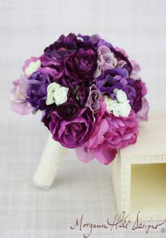Silk Bride Bridesmaid Bouquet Roses Ranunculus Anemone Purple Lavender Violet Country Wedding Lace (Item Number 130120) on Etsy, $89.00