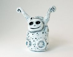 Moon Monster Clay Sculpture by DragonStarArt on Etsy, $49.00