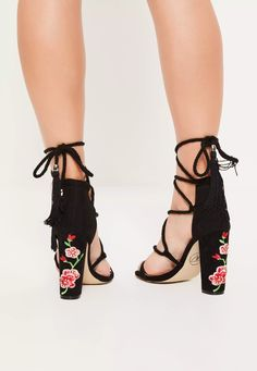 These luxe lace up block heels in our forever fave black shade are our new shoe obsession! With floral embroidery to each heel - all eyes will be on you!