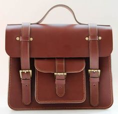 "Vintage Handmade Leather Briefcase / Satchel / Messenger / 11"" MacBook Bag in Brown"
