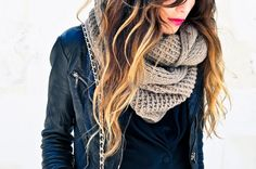leather jacket + chunky scarf + bright lip.