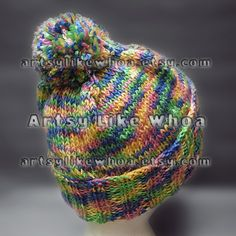 READY4WINTER SALE  Rainbow Knitted Hat with by artsylikewhoa