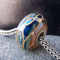 MruMru lampwork glass beads. Silver blue with goldstone. Focal. Pendant. Big hole beads fit pandora, troll etc.  Sra