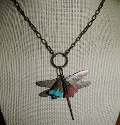 Dragonfly Pendant Flower Chain Necklace