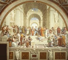 provocative-planet-pics-please.tumblr.com #raphaels The #school of Athens (1511) represents all the greatest philosophers mathematicians and scientists from classical antiquity gathered together sharing their ideas and learning from each other. These figures all lived at different times but here they are gathered together under one roof. The two thinkers in the very center #aristotle on the right and #plato on the left pointing up..have been enormously important to #western thinking…