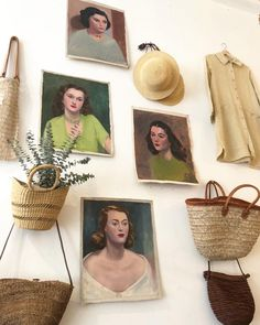 The new girls | Vintage oil paintings circa 1930's and 40's. Quite the treasure trove of original oil canvases found as a set at an East…