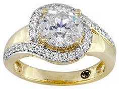 Remy Rotenier For Bella Luce (R) 4.13ctw 18k Yellow Gold Over Sterling Silver Solitaire Swirl Ring