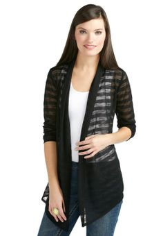 I bought this Feb. 2014, its pretty light and comfortable, perfect for Texas summer. ERM - Sheer Stripe Waterfall Cardigan - Plus Knit Cardigans Cato Fashions