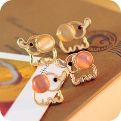 elephant golden color opal earrings, cheap fashion earring shop at : http://costwe.com/animal-earrings-c-50_100.html