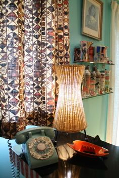 lamp. phone. curtains.