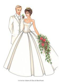 David Beckham & Victoria Beckham by Jen Hancock  Illustration.Files: Celebrity Couples