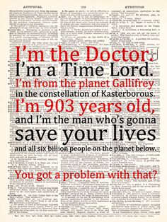 """""""Dr. Who - David Tennant - Time Lord Quote - Vintage Dictionary Print, Vintage Book Print, Page Art, Upcycled Vintage Book Art."""""""