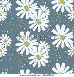 chamomile flowers seamless pattern, vector hand drawn illustration