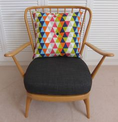 Retro Vintage Ercol Windsor Blonde Armchair with New Cushions