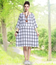 Anysize boat collar plaids linen & cotton dress plus size dress plus size tops plus size clothing spring autumn dress clothing Y189