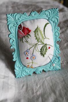 framed pincushion!  Love it! ~ what a great idea.