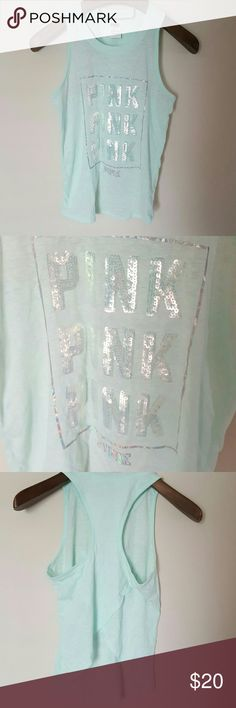 New! PINK sequin tank! Xs New with tags! PINK sequin tank size xs. Mint color. Cute back design!  Bundle using the bundle feature and save! PINK Victoria's Secret Tops