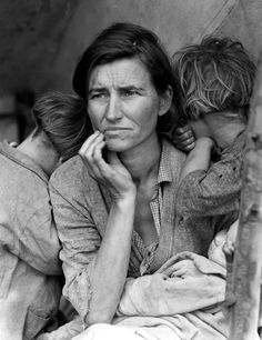 """March 1936 — """"Migrant Mother"""" This iconic photo that depicts the realities of the Great Depression will be used to discuss the impacts of the Depression and it's influences on global politics, particularly how the worldwide economic depression brought about WWII."""