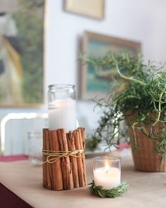 DIY cinnamon and rosemary sprig candles. this would smell delicious!! maybe with vanilla candles too?